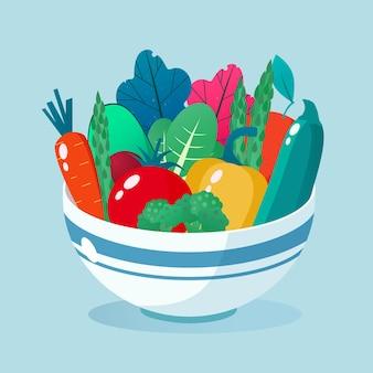 Ciotola piena di illustrazione di verdure. concetto di stile di vita sano.