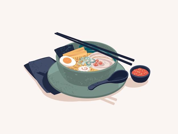 Ciotola di tagliatelle di ramen giapponesi con manzo