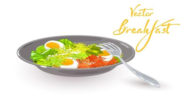 Ciotola di ingredienti nutrienti e deliziosi uova sode verdure verdure