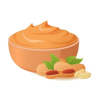 Ciotola di burro di arachidi diffusione di noci illustrazione realistica alimentazione sana. cibo per vegani e vegetariani.