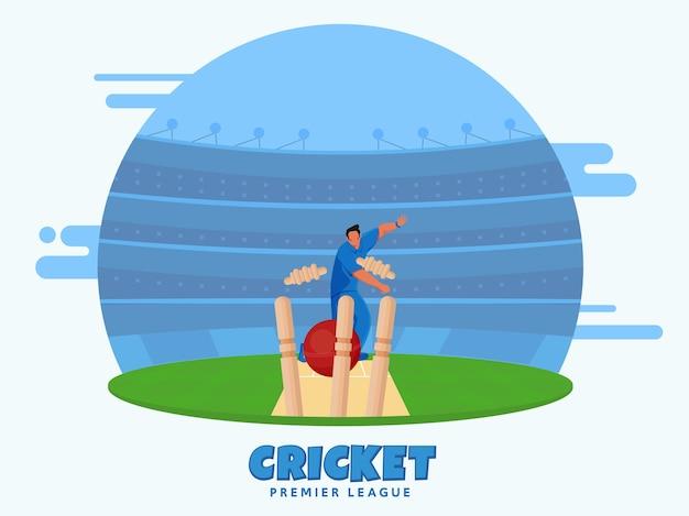 Giocatore di bocce che lancia la palla ha colpito i wickets sullo sfondo di visualizzazione dello stadio per la premier league di cricket.