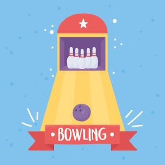 Bowling vicolo palla perni gioco da tavolo sport ricreativo design piatto illustrazione vettoriale