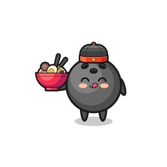 Bowling come mascotte dello chef cinese che tiene una ciotola di noodle, design carino