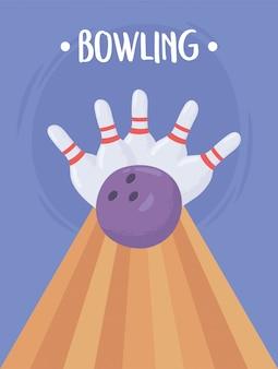 Palla da bowling schiantarsi contro i birilli design piatto illustrazione vettoriale
