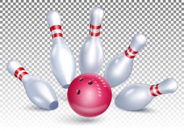 La palla da bowling colpisce i birilli. torneo di bowling. colpo preciso.