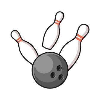 Palla da bowling che colpisce l'illustrazione dei perni