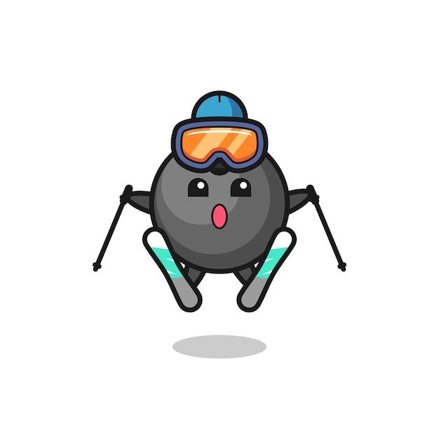 Personaggio mascotte palla da bowling come giocatore di sci, design in stile carino per maglietta, adesivo, elemento logo