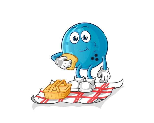 Palla da bowling su un fumetto di picnic. mascotte dei cartoni animati
