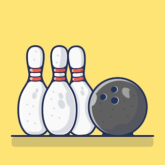 Palla da bowling e perni isolati su colore giallo