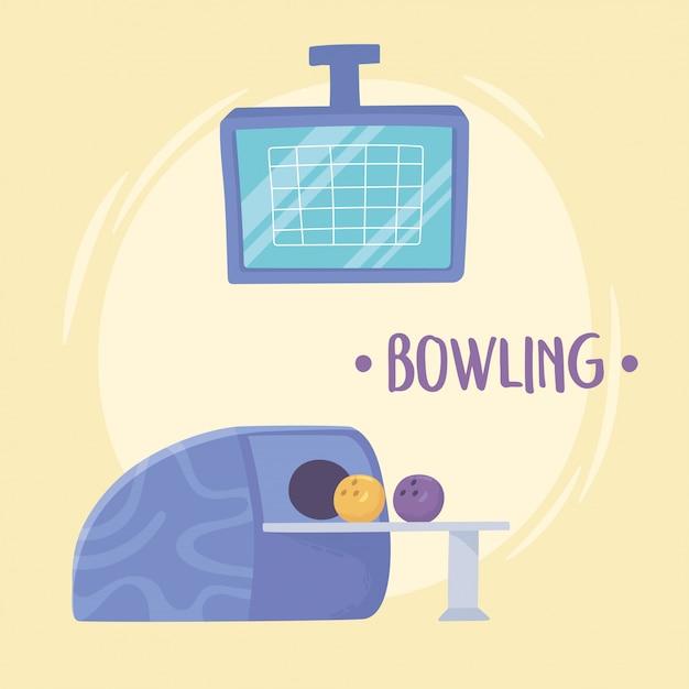 Palla da bowling ritorno a destra da una macchina punteggio schermo illustrazione vettoriale design piatto sport ricreativo