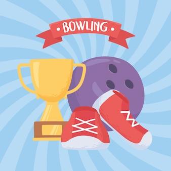 Scarpe da bowling e trofeo gioco sport ricreativo design piatto illustrazione vettoriale