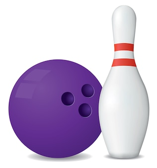 Palla da bowling e birilli isolati su sfondo bianco.