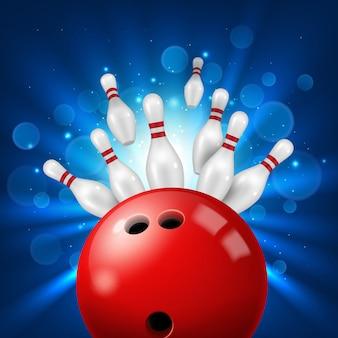 Colpo della palla da bowling in perni 3d realistici