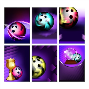 Palle da bowling e poster candlepin set vettoriale. strumento sferico da bowling e attrezzatura da bowling per anatre per il gioco del club di divertimento, raccolta di diversi banner. illustrazioni di concetto di sport