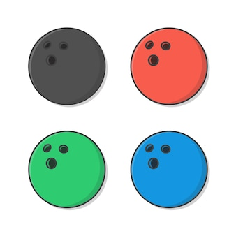 Illustrazione di palle da bowling. set di palla da bowling piatta