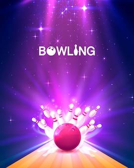 Manifesto del club di bowling con lo sfondo luminoso. illustrazione vettoriale