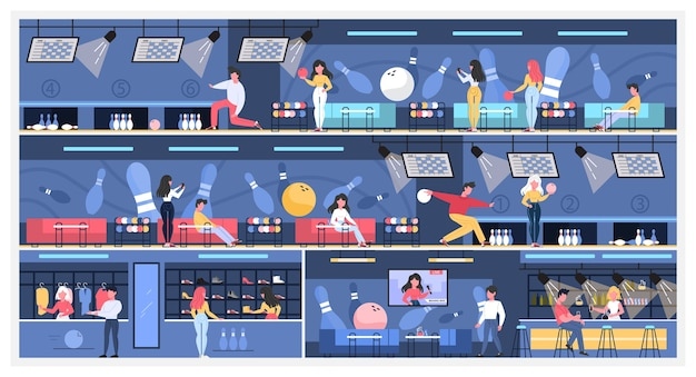 Interno della sala del bowling. persone che vanno a giocare a bowling nella zona di gioco, trascorrono del tempo al bar e scelgono scarpe da bowling. illustrazione