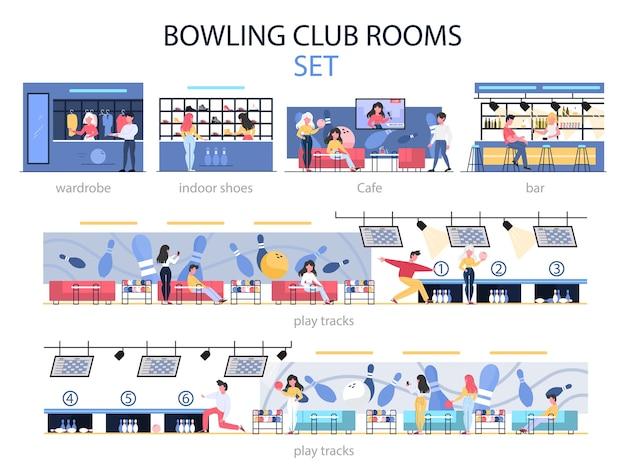 Set interni sala bowling club. persone che vanno a giocare a bowling nella zona di gioco, trascorrono del tempo al bar e scelgono scarpe da bowling. illustrazione