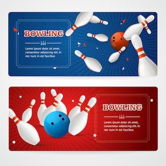 Set di carte banner orizzontale colorato da bowling.