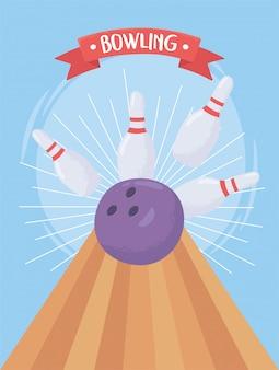 Bowling schiantarsi palla pin gioco sport ricreativo design piatto illustrazione vettoriale