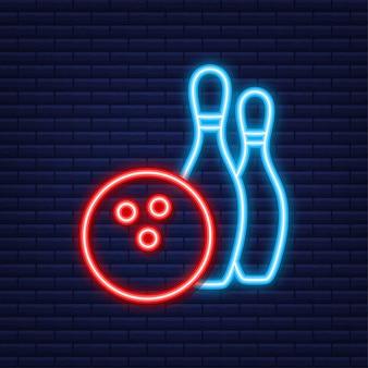 Icona di tempo libero gioco di bowling. palla da bowling. icona al neon. illustrazione vettoriale.