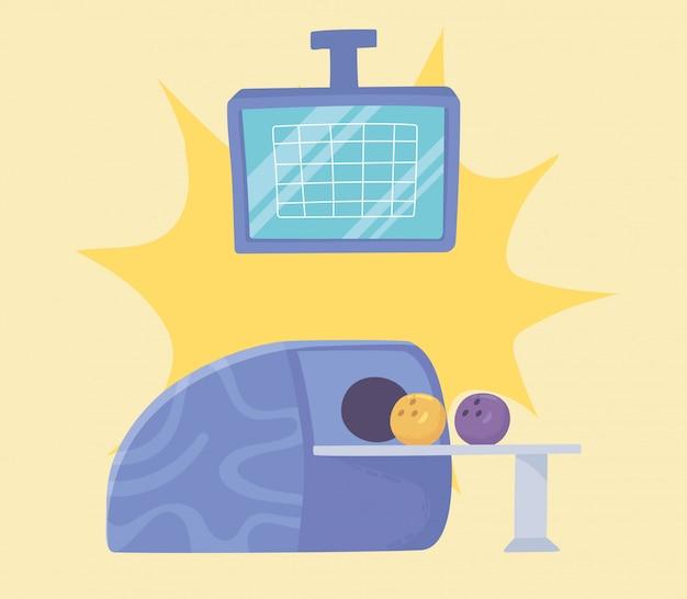 Bowling machine palle e punteggio schermo gioco sport ricreativo design piatto illustrazione vettoriale