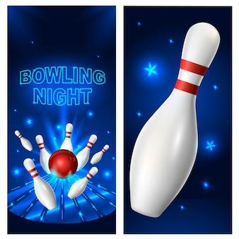 Modello di volantino di notte di bowling