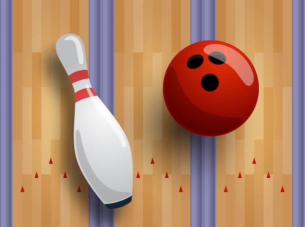 Modello di bowling o concetto di banner. pista da bowling, palla, birilli sul pavimento.