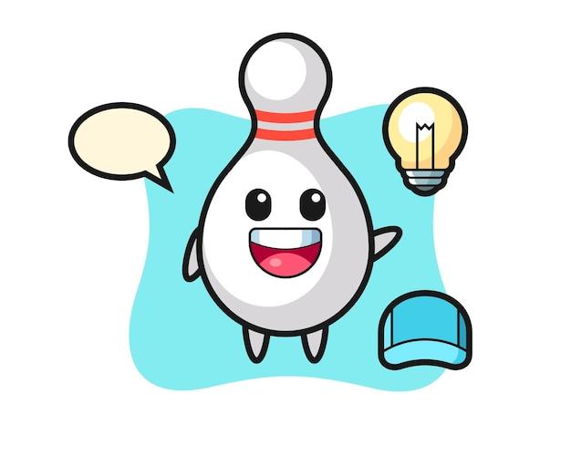 Personaggio dei cartoni animati del bowling che ottiene l'idea, design in stile carino per t-shirt, adesivo, elemento logo