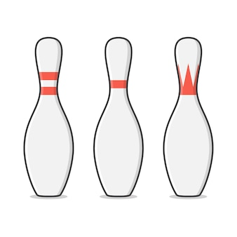 Illustrazione di birilli da bowling. bowling pins sport flat