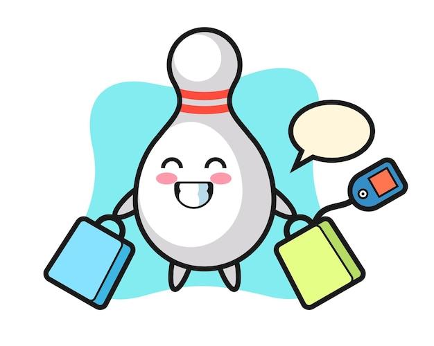 Fumetto della mascotte del birillo da bowling che tiene una borsa della spesa, design in stile carino per maglietta, adesivo, elemento logo