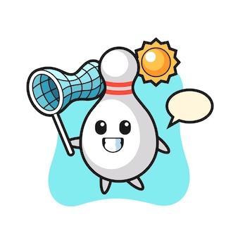 L'illustrazione della mascotte del birillo da bowling sta catturando la farfalla, il design in stile carino per la maglietta, l'adesivo, l'elemento del logo
