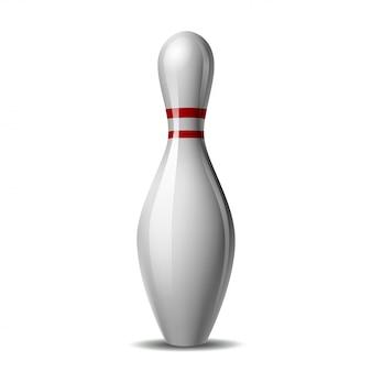 Pin di bowling con una striscia colorata su uno sfondo bianco. illustrazione