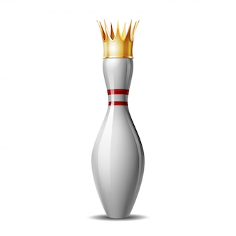 Birillo da bowling con corona reale su sfondo bianco. illustrazione