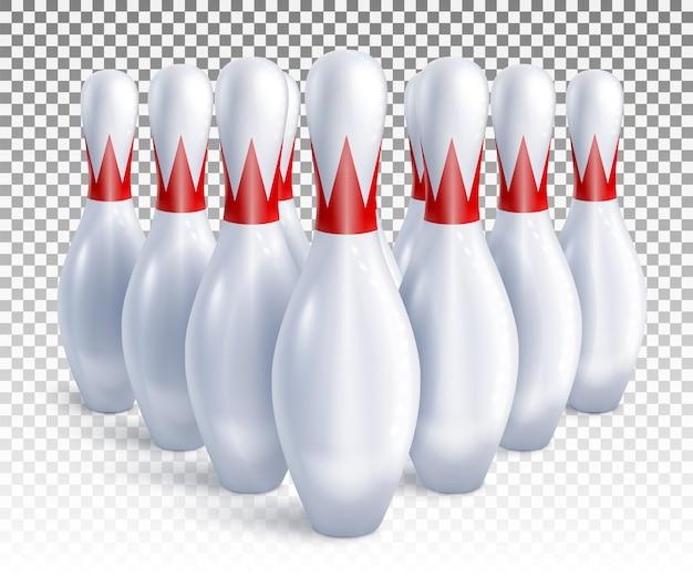 I birilli da bowling sono disposti per la vista frontale e dall'alto del gioco e del torneo.