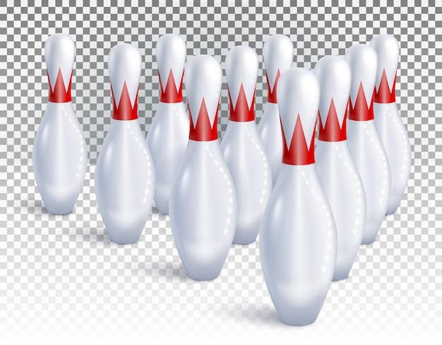 I birilli da bowling sono disposti per la vista dall'alto del gioco e del torneo.