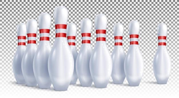 Birilli da bowling disposti per il gioco e la vista laterale del torneo.