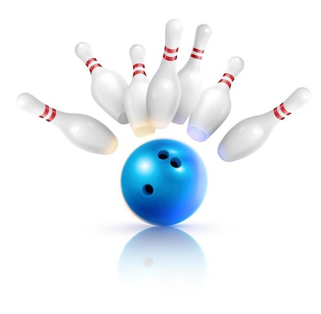 Composizione realistica di bowling con immagini di palla da sciopero e perni volanti con ombre su illustrazione in bianco