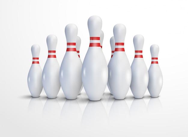 Sfondo di illustrazione realistica di bowling. bowling concetto di gioco per il tempo libero