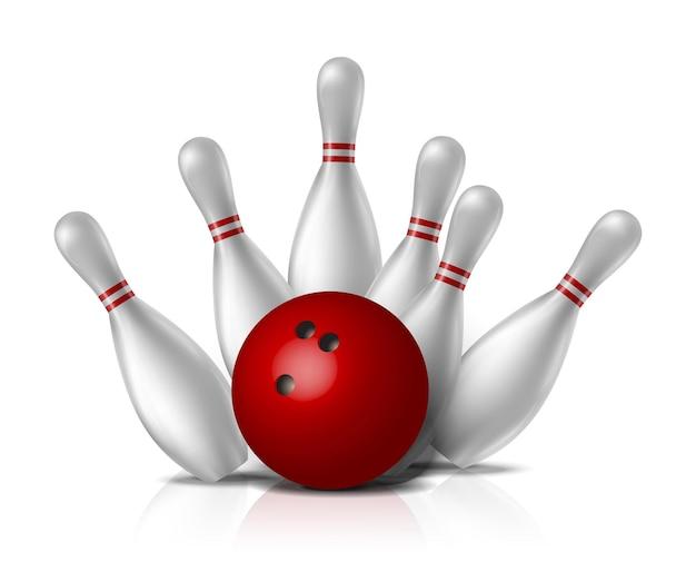 Bowling, palla rossa con keggels bianchi che cadono.