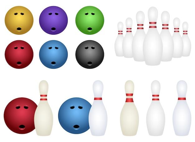 Set da bowling, isolato su sfondo bianco