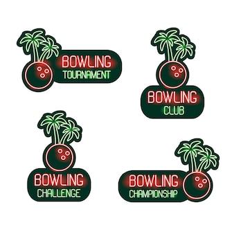 Set da bowling di insegne al neon club, torneo, sfida, campionato.
