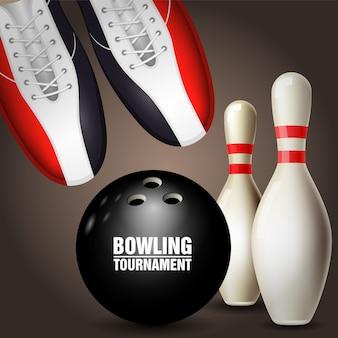 Scarpe da bowling, birilli e palla - poster del torneo di bowling