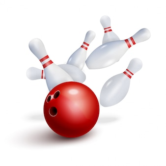 Fondo realistico dell'illustrazione di sciopero di bowling. concetto di tempo libero del gioco della ciotola del fuoco, progettazione del manifesto del club di bowling.