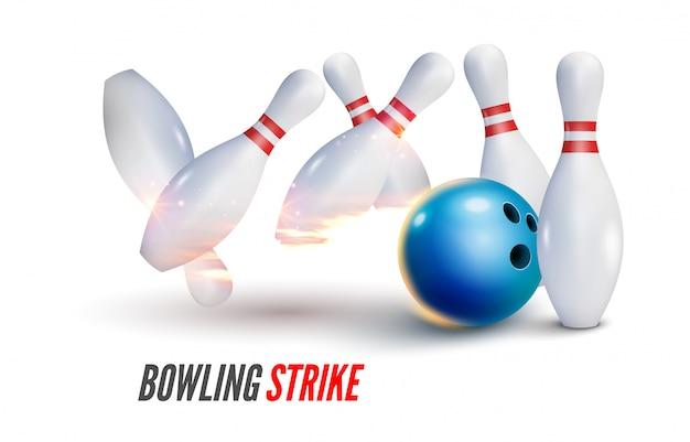 Fondo realistico dell'illustrazione di sciopero di bowling. concetto di tempo libero del gioco della ciotola del fuoco