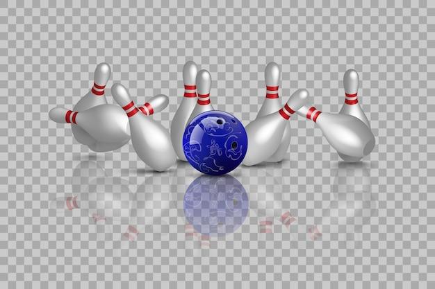 Sciopero di bowling con riflesso speculare isolato su sfondo trasparente.