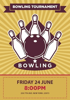 Modello di manifesto di vettore di torneo o concorso di bowling