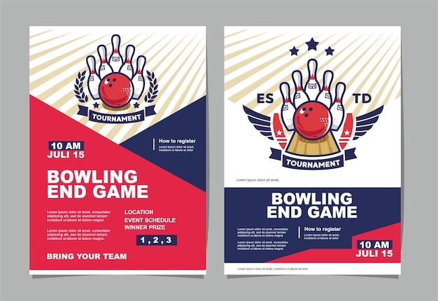 Poster dell'evento del torneo di bowling e logo del bowling