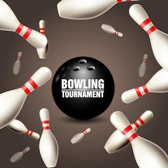 Scheda dell'invito del torneo di bowling - cornice di birilli galleggianti e palla