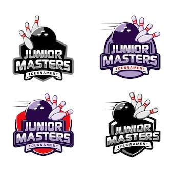 Modello di logo di evento junior master torneo di bowling